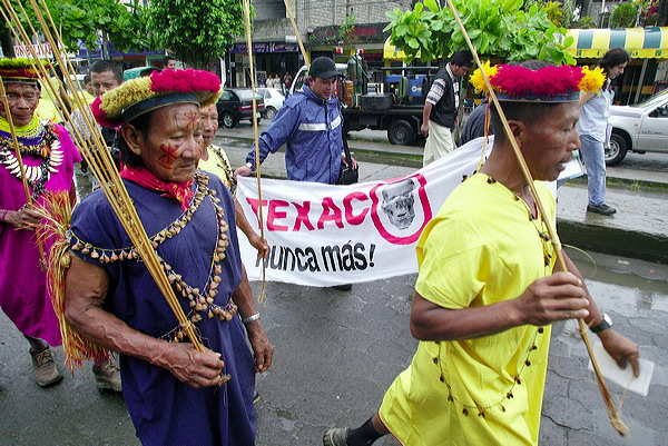 AMAZON INDIANS IN PROTEST MARCH AGAINST CHEVRONTEXACO
