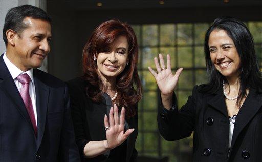Cristina Fernandez, Ollanta Humala, Nadine Heredia