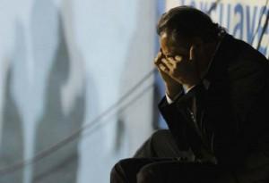 J.J. López, DT de River, llora de impotencia.