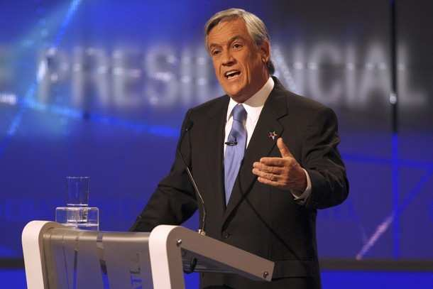 Chilean presidential candidate, Sebastian Pinera of the National Renewal Party, delivers a speech during a live televised debate in Santiago