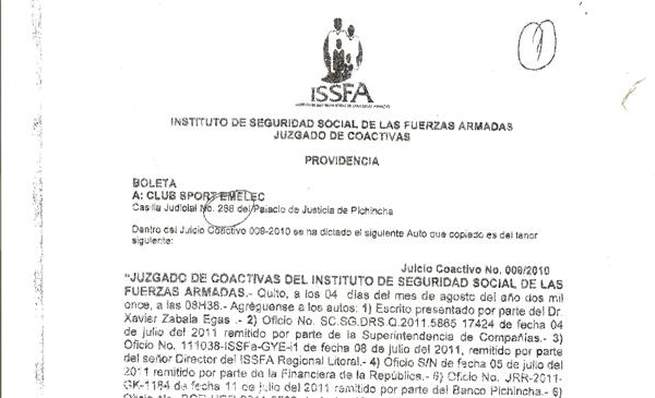 Juzgado de coactiva del issfa dispone duras medidas contra for Juzgado seguridad social