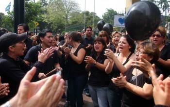 En la mañana, la protesta se realizó en Guayaquil.