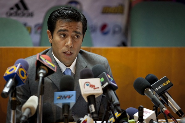 Venezuela's national soccer coach Cesar Farias talks to the media during a news conference about the 43rd Copa America soccer tournament preparations in Caracas