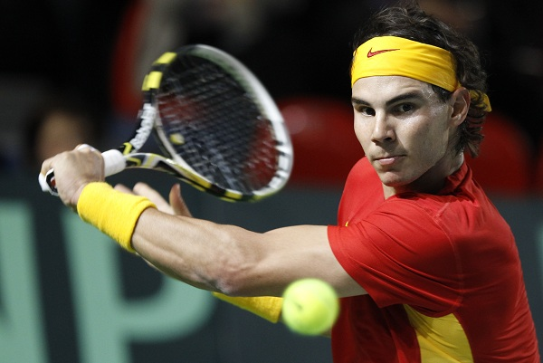 Spain's Nadal plays Belgium's Bemelmans during their Davis Cup match in Charleroi