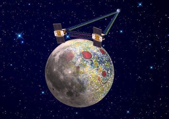 Interpretación artística elaborada por la NASA de la sonda espacial gemela Grail haciendo mapas del campo lunar gravitacional, el 21 de diciembre. Las dos sondas entrarán a la órbita de la Luna el fin de semana del Año Nuevo. (Foto AP/NASA, Jet Propulsion Laboratory)
