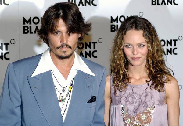 Actor Johnny Depp and wife Vanessa Paradis arrive for Montblanc's 100th Anniversary event in Geneva