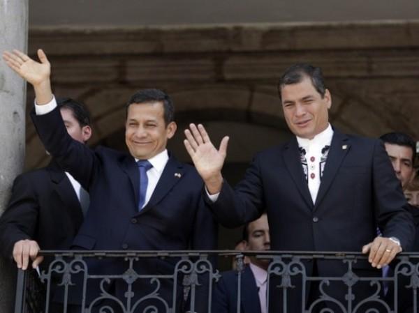Los presidentes de Perú y Ecuador, Ollanta Humala y Rafael Correa, respectivamente. Foto de Archivo, La República.