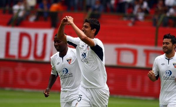 José Francisco Cevallos Jr. celebra el 1x0. El juvenil marcó su segundo gol como profesional.