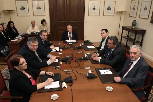 Aleka Papariga, Evangelos Venizelos,Antonis Samaras, Karolos Papoulias, Alexis Tsipras, , Panos Kammenos, Fotis Kouvelis