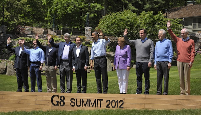 Barroso, Medvedev, Noda, Harper, Hollande, Obama, Merkel, Cameron, Monti, Van Rompuy