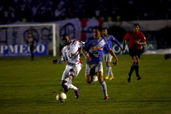LOJA 16 DE MAYO DE 2012, En el estadio Reina del Cisne Liga de Loja recibe al Emelec APIFOTO/EDUARDO MENDIETA