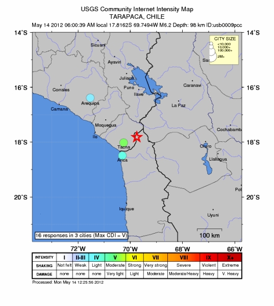 sismo Chile 6.4 Arica