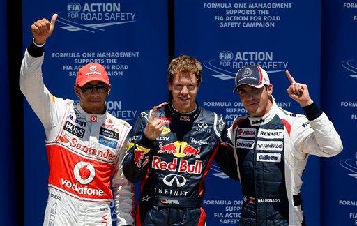 Sebastian Vettel, Lewis Hamilton, Pastor Maldonado