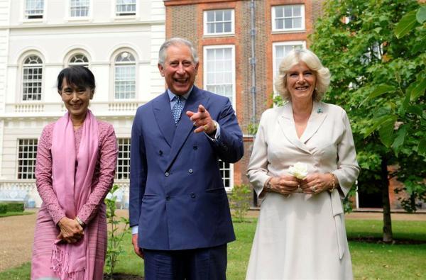 San Suu Kyi y principes de Gales