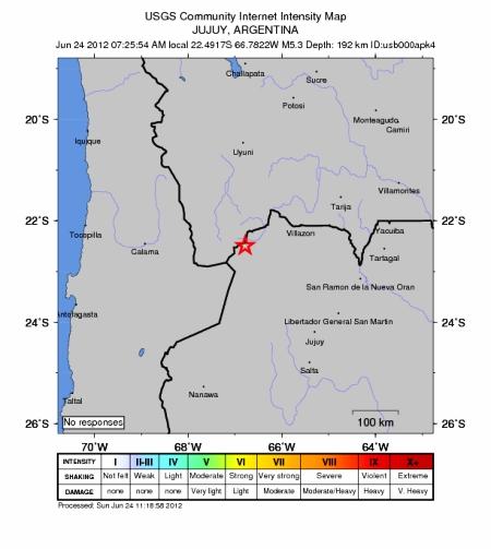 sismo entre Chile y Argentina
