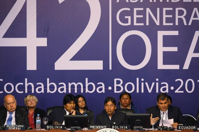 Evo Morales, Rafael Correa, Jose Miguel Insulza,  David Choquehuanca