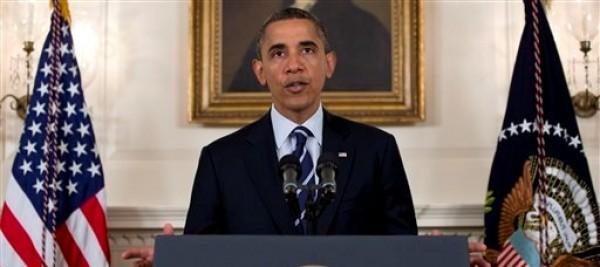 El presidente Barack Obama habla sobre la tormenta tropical Isaac, el martes 28 de agosto de 2012, en la Casa Blanca, en Washington. (AP foto/Carolyn Kaster)
