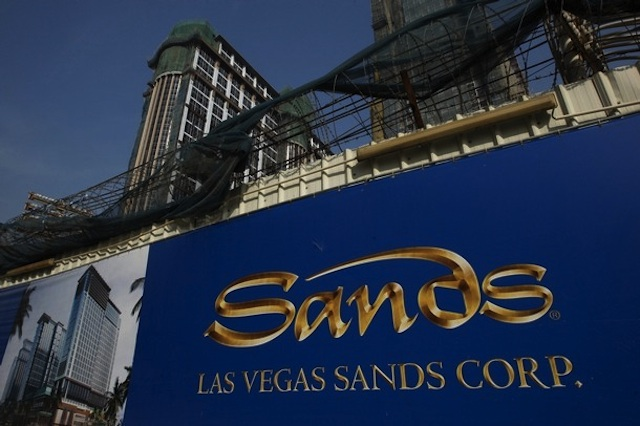 Las Vegas Sands company logo is seen in front of its construction site in Macau