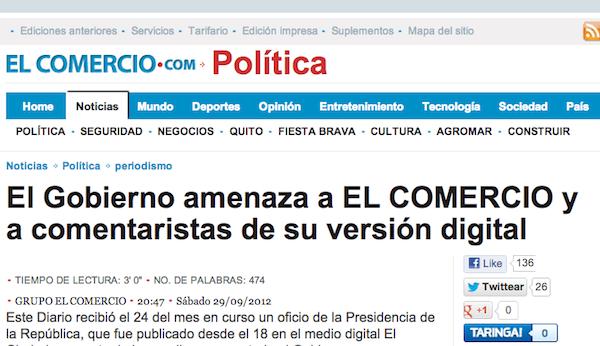 6ca896245f El Comercio suspende los comentarios de los lectores en su página ...