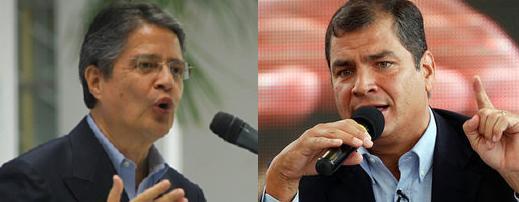 Guillermo Lasso y, del otro lado, el presidente Rafael Correa. Foto de Archivo, La República.