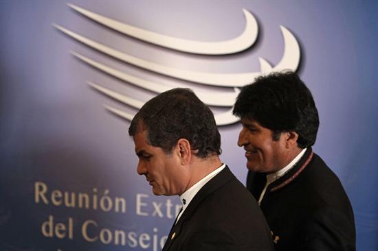 Rafael Correa y Evo Morales. Foto de Archivo, La República.