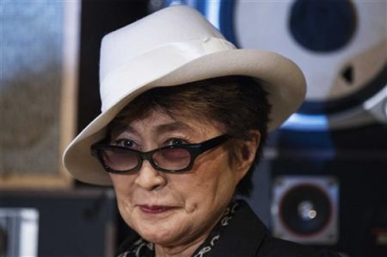 Yoko Ono is pictured before presenting the LennonOno Grant for Peace to Verzilov, husband of convicted Pussy Riot band member Tolokonnikova, in New York