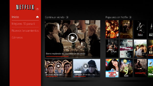 Netflix Windows 8 Screenshot ES 1