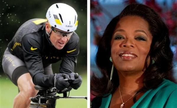 En esta imagen de dos fotos combinadas aparecen el ciclista Lance Armstrong, pedaleando el 7 de octubre de 2012; y la presentadora de televisión Oprah Winfrey, el 9 de marzo de 2012. (Fotos AP/archivo)