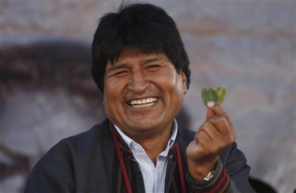 El presidente Evo Morales sostiene una hoja de coca al encabezar una multitudinaria manifestación de campesinos cocaleros en Cochabamba, Bolivia, el lunes 14 de enero de 2013. Los bolivianos celebraron el reingreso de Bolivia a la convención sobre estupefacientes de la ONU, que no penaliza el masticado de coca en el país. (AP Photo/Juan Karita)