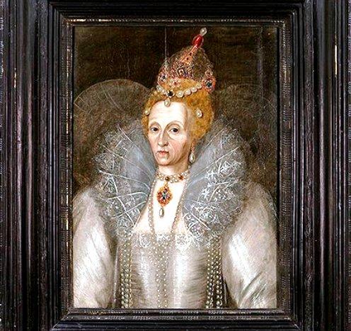 Un retrato de la reina Isabel I en una imagen proporcionada por The Elizabethan Gardens. El retrato que estuvo por décadas en una tienda de regalos en Manteo, Carolina del Norte, forma parte de una exposición de la Biblioteca Folger Shakespeare en Washington, DC. (Foto AP/The Elizabethan Gardens, Ray Matthews)