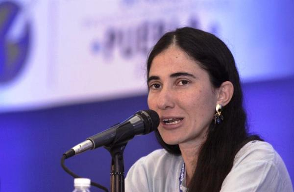 Yoani en Mexico dictando charlas. Foto de Archivo, La República.