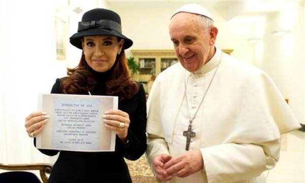 Cristina Fernández y el Papa Francisco.
