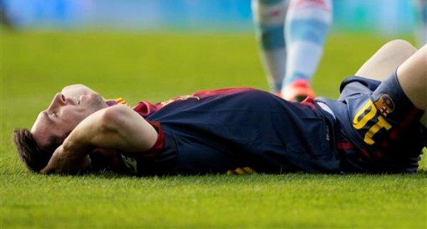 El jugador del Barcelona, Lionel Messi, durante un partido contra Celta de Vigo en la liga española el sábado, 30 de marzo de 2013, en Vigo, España. (AP Photo/Lalo R. Villar)