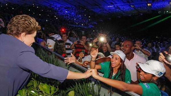 Dilma Rousseff en la inauguración del Maracaná