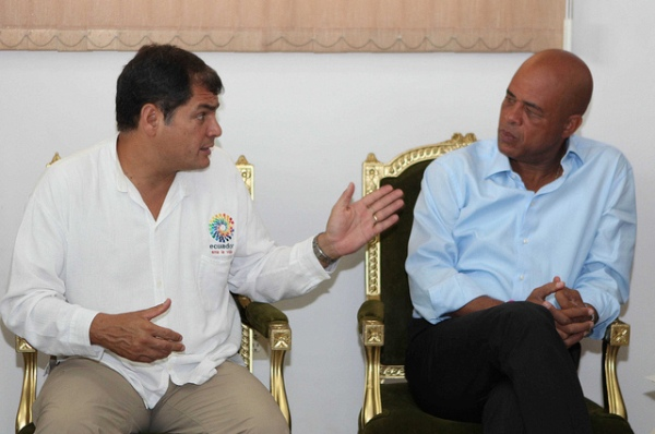 Rafael Correa en Haiti
