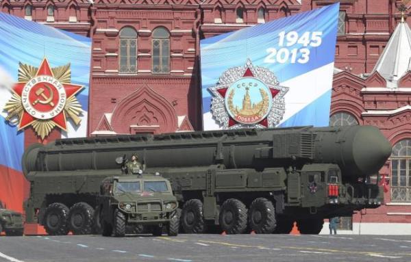 El misil balístico intercontinental Trópol-M, que desfiló en el Día de la Victoria Rusa.