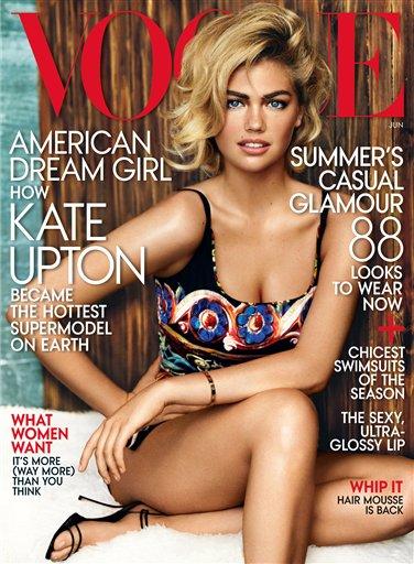 Kate Upton en la portada del número de junio de 2013 de la revista Vogue en una fotografía proporcionada por Vogue. (Foto AP/Vogue)