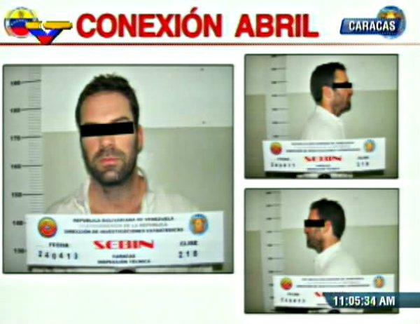 Ficha de la captura de Timothy Tracy cedida por la Televisión Venezolana
