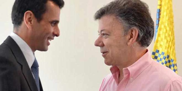 El líder de la oposición venezolana, recibido por Juan Manuel Santos.