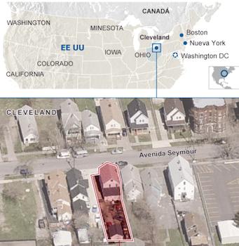 Lugar del secuestro, en Cleveland, Ohio, Estados Unidos.