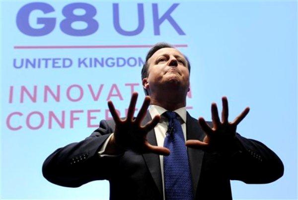 El primer ministro de Gran Bretaña, David Cameron, en la Conferencia sobre innovación del G8 en el edificio de Siemens en Londres el viernes 14 de junio de 2013. Como parte de la presidencia del Reino Unido del G8, la conferencia reúne a 300 empresarios internacionales, investigadores, científicos, diseñadores y estrategas. (Foto AP/Facundo Arrizabalaga, Pool)
