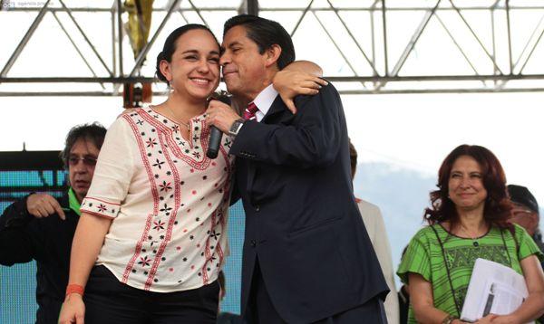 Gabriela Rivadeneira y Mauro Andino, celebrando. API/Juan Cevallos