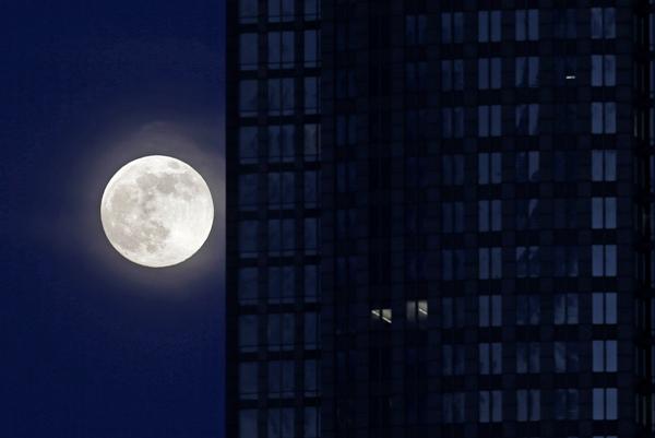 * La Luna llena al lado de un edificio de oficinas en el centro de Charlotte, Carolina del Norte, el sábado 22 de junio de 2013. La superluna, que parece más grande de lo normal, ocurre una vez este año cuando su órbita elíptica se encuentra a su distancia más corta de la Tierra. (AP Foto Chuck Burton(