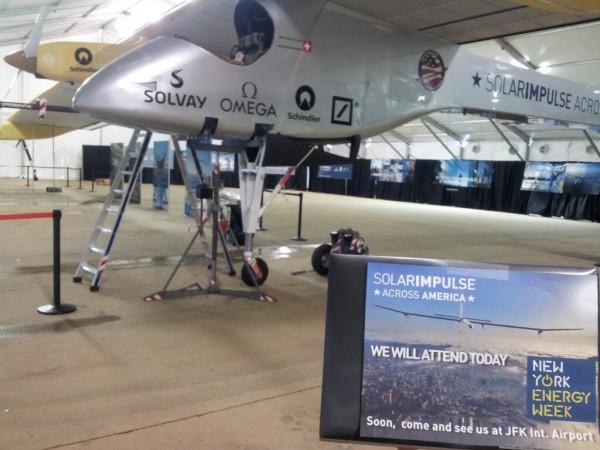 El prototipo de avión movido únicamente por energía solar, el HB-Sia de la empresa suiza Solar Impulse