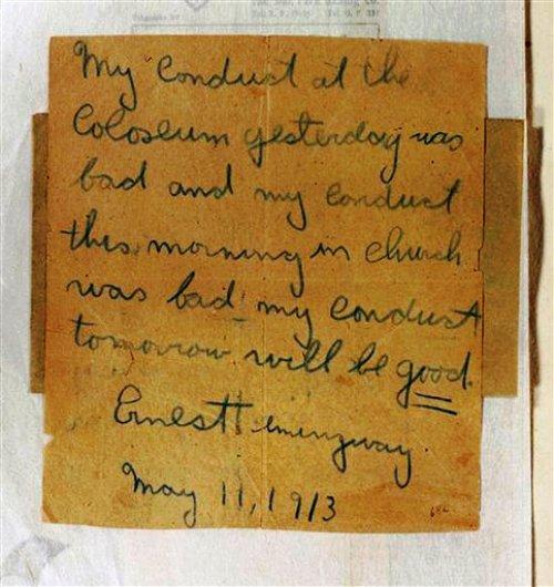 Texto de escritos sueltos que elaboró Grace Hall Hemingway, madre del autor Ernest Hemingway, y que pertenece a la Biblioteca y Museo Presidencial John F. Kennedy, ubicado en Boston. La imagen la facilitó el museo el 17 de julio de 2013.(AP Foto/Biblioteca Presidencial John F. Kennedy) Texto elaborado con escritos sueltos de Grace Hall Hemingway, madre del autor Ernest Hemingway, y que pertenece a la Biblioteca y Museo Presidencial John F. Kennedy, ubicado en Boston. La imagen la facilitó el museo el 17 de julio de 2013. Grace Hall Hemingway habla en esos escritos de su hijo, el futuro gran autor estadounidense. (AP Foto/Biblioteca Presidencial John F. Kennedy)