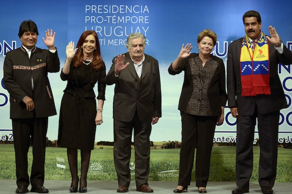Jose Mujica, Dilma Rousseff, Cristina Fernandez, Evo Morales, Nicolas Maduro, presidentes del Mercosur. Foto de Archivo, La República.