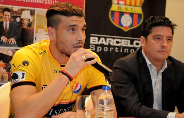 Guayaquil, 22 de Julio del 2013. En el hotel Hampton Inn se presento al nuevo jugador de Barcelona Sebastian Ribas. APIFOTO/CÉSAR PASACA