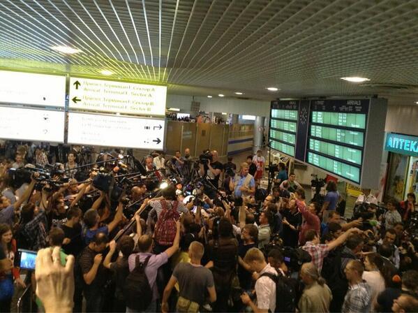 * Foto del aeropuerto de Sheremetyevo, el viernes 12 de julio, tuiteada por @SilvixCarrasco