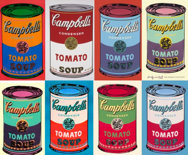 Las latas de sopa de toma Campbell de Warhol.