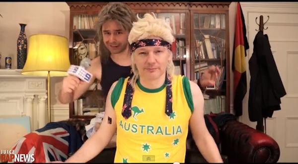 Assange en campaña política aspirando al parlamento de Australia.